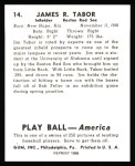 1939 Play Ball Reprint #14  Jim Tabor  Back Thumbnail
