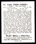 1939 Play Ball Reprint #53  Carl Hubbell  Back Thumbnail