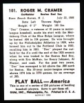 1939 Play Ball Reprint #101  Roger Cramer  Back Thumbnail