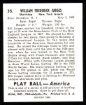 1939 Play Ball Reprint #35  Bill Jurges  Back Thumbnail