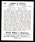 1939 Play Ball Reprint #66  Jimmy Ripple  Back Thumbnail
