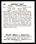 1939 Play Ball Reprint #45  Merrill May  Back Thumbnail