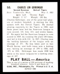1939 Play Ball Reprint #50  Charley Gehringer  Back Thumbnail