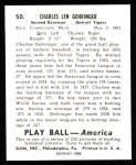 1939 Play Ball Reprint #50  Charley Gehringer  Back Thumbnail