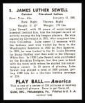 1939 Play Ball Reprint #5  Luke Sewell  Back Thumbnail