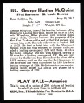 1939 Play Ball Reprint #122  George McQuinn  Back Thumbnail