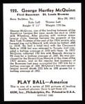 1939 Play Ball Reprints #122  George McQuinn  Back Thumbnail