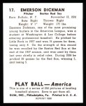 1939 Play Ball Reprint #17  Emerson Dickman  Back Thumbnail