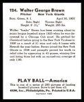 1939 Play Ball Reprint #124  Walter Brown  Back Thumbnail