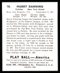 1939 Play Ball Reprint #18  Harry Danning  Back Thumbnail