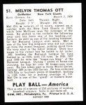1939 Play Ball Reprint #51  Mel Ott  Back Thumbnail