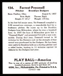 1939 Play Ball Reprint #134  Tot Presnell  Back Thumbnail