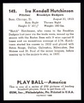 1939 Play Ball Reprint #142  Ira Hutchinson  Back Thumbnail