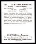 1939 Play Ball Reprint #142  Ira Hutchinson  Back Thumbnail