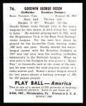 1939 Play Ball Reprint #76  Goody Rosen  Back Thumbnail