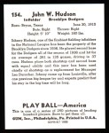 1939 Play Ball Reprint #154  Johnny Hudson  Back Thumbnail