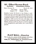 1939 Play Ball Reprint #127  Gil Brack  Back Thumbnail