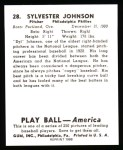 1939 Play Ball Reprint #28  Sylvester Johnson  Back Thumbnail