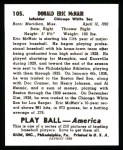 1939 Play Ball Reprint #105  Rabbit McNair  Back Thumbnail