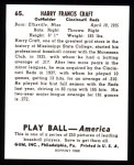 1939 Play Ball Reprint #65  Harry Craft  Back Thumbnail