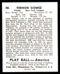 1939 Play Ball Reprints #48  Lefty Gomez  Back Thumbnail