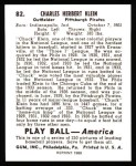 1939 Play Ball Reprint #82  Chuck Klein  Back Thumbnail