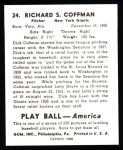 1939 Play Ball Reprints #24  Richard Coffman  Back Thumbnail