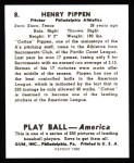 1939 Play Ball Reprints #8  Henry Pippen  Back Thumbnail