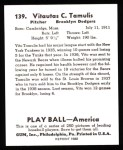 1939 Play Ball Reprint #139  Vito Tamulis  Back Thumbnail