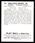 1939 Play Ball Reprint #64  Wally Moses  Back Thumbnail