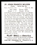 1939 Play Ball Reprint #29  Black Jack Wilson  Back Thumbnail