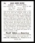 1939 Play Ball Reprints #78  Julius Solters  Back Thumbnail
