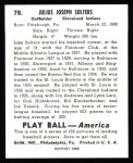 1939 Play Ball Reprint #78  Julius Solters  Back Thumbnail