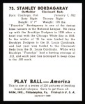 1939 Play Ball Reprints #75  Stan Bordagaray  Back Thumbnail