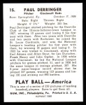 1939 Play Ball Reprint #15  Paul Derringer  Back Thumbnail