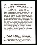 1939 Play Ball Reprints #27  Fred Ostermueller  Back Thumbnail