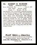 1939 Play Ball Reprint #90  Robert Klinger  Back Thumbnail