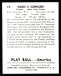 1939 Play Ball Reprint #73  Hal Schumacher  Back Thumbnail