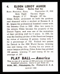 1939 Play Ball Reprint #4  Eldon Auker  Back Thumbnail
