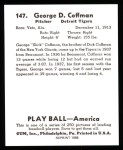 1939 Play Ball Reprint #147  George Coffman  Back Thumbnail