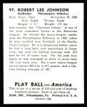 1939 Play Ball Reprint #97  Bob Johnson  Back Thumbnail
