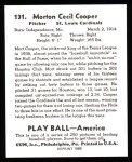 1939 Play Ball Reprint #131  Mort Cooper  Back Thumbnail