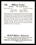 1939 Play Ball Reprint #148  Bill Trotter  Back Thumbnail