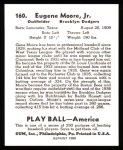 1939 Play Ball Reprint #160  Gene Moore  Back Thumbnail