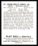 1939 Play Ball Reprint #47  Buddy Lewis  Back Thumbnail