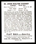 1939 Play Ball Reprint #85  Johnny Cooney  Back Thumbnail
