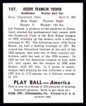 1939 Play Ball Reprints #107  Joe Vosmik  Back Thumbnail