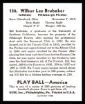 1939 Play Ball Reprint #130  Bill Brubaker  Back Thumbnail