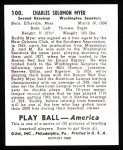 1939 Play Ball Reprint #100  Buddy Myer  Back Thumbnail