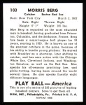 1939 Play Ball Reprints #103  Moe Berg  Back Thumbnail
